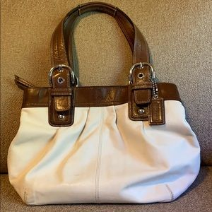 Cream/brown medium authentic leather Coach bag